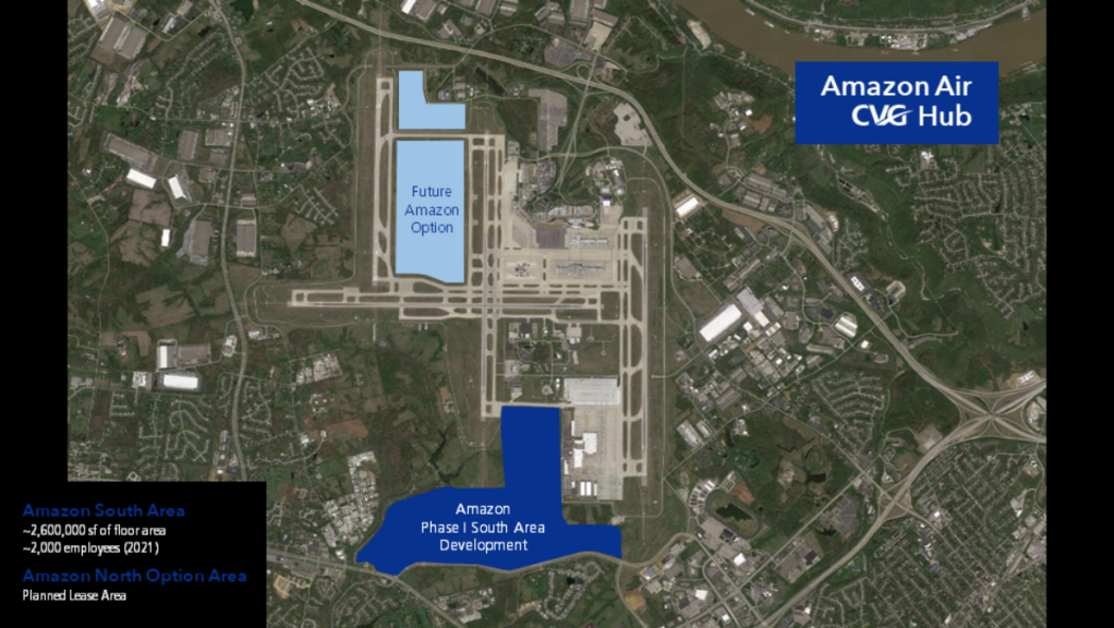 Map showing Amazon Air CVG hub development areas